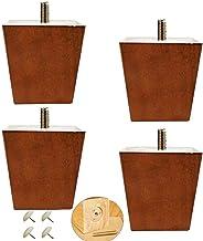 JSONA Houten meubelpoten,Vierkante massief houten meubilair vervangende voeten,Set van 4 M8/M10 bout bankvoeten,voor keuke...