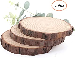 Nawilbi Large Natural Wood Slices Round Rustic Slabs Unfinished Wood Sanded 10-11 inch for Wood Burning Wedding Centerpiece Table Birthday Party Baby Shower Decoration Craft (2 Pack)