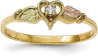 10K Tri-Color Gold Black Hills Gold Genuine Diamond Heart Ring (0.05 CTTW, I-J Color, I2 Clarity)