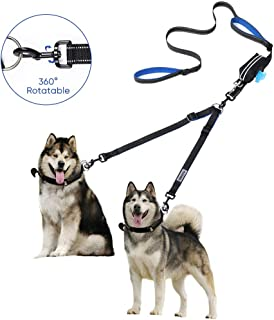 YOUTHINK Dual Dog Leash 360°No Tangle Double Handle Leash Dog Walking & Training Leash Reflective Adjustable Dog Leash for 2 Dogs up to 180 lbs, with Waste Bag Dispenser