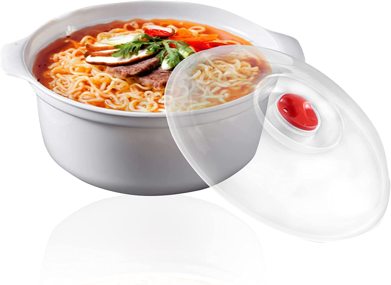 Ramen Cooker, Ramen Noodle Bowl, Easy Mac, Microwave Pasta Cooker, Ramen Noodle Cooker, Microwave Bowls with Lids Ideal for Dorm Room Essentials for Girls Boys, Dishwasher & Microwave Safe (1.6L)