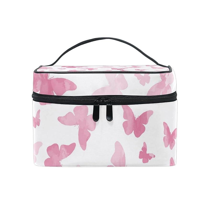 検索シュガー試みるALAZA 化粧ポーチ 蝶柄 ちょう柄 化粧 メイクボックス 収納用品 ピンク 大きめ かわいい