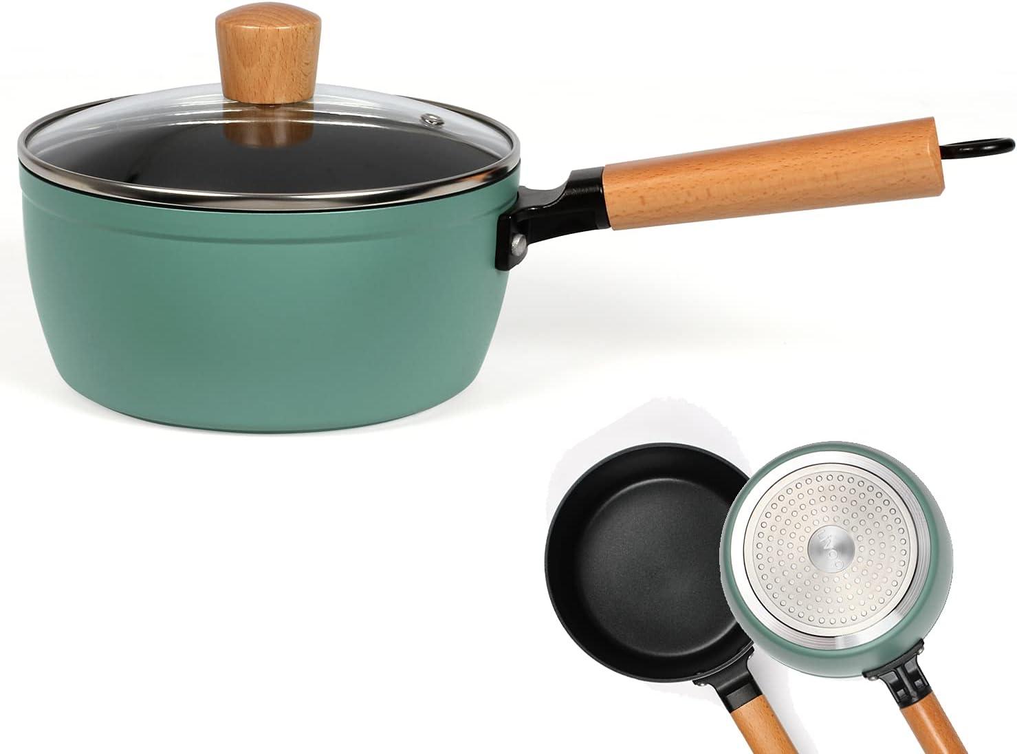 Cazo con tapa de inducción – Cazo pequeño de 18 cm con mango de madera – Cacerola revestida con mango apto para inducción – Cazo de leche con tapa de cristal – Cazo verde