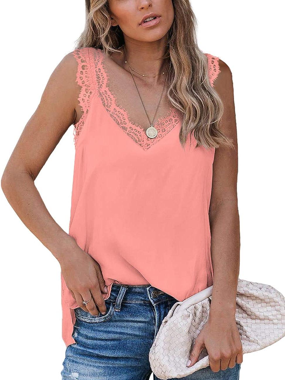 Aokosor Womens V Neck Lace Tank Tops Summer Casual Loose Sleeveless Shirts Side Split