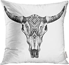 Emvency 20x20 Inch Throw Pillow Covers Decorative Case Black Bull Aztec Longhorn Skull White Cow Tribal Western American Animals Boho Cover Square Pillowcase Cushion Cases Print On Two Sides