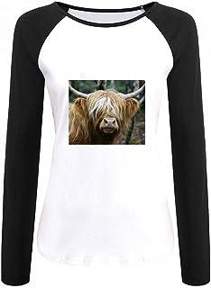 トップス ハイランド牛 Women Raglan Long Sleeve T-Shirt レディーズ Tシャツ