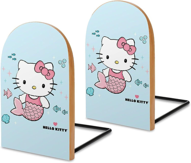 KRISMARIO Hello Kitty Fish 2pcs Heavy Wood Logs Bookends Modern