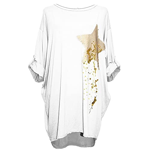 a100c68623808 idressup New Italian Women Ladies Lagenlook Shooting Star Sequins Keyhole  Back High Low Tunic top Dress