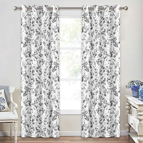 KGORGE Blackout Curtains Boho - Vintage Watercolor White and Gray Curtain Pair with Leaves Pattern Drapes for Living Room Dining Home Office, 2 Panels, 52 x 84 inches Long, Dove Grey