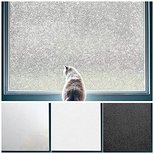 Privacy Window Film No Glue Frosted Glass Sticker for Home Office Static Anti-UV Window Paper Decorative Window Covering for Bathroom,Frosted Crystal 23.6 x 78.7 Inches