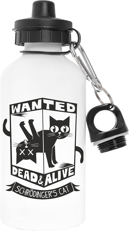 Wanted Dead and Alive Schrodingers Cat Libre de Contaminantes Blanco Botella De Agua Aluminio Para Exteriores Pollutant Free White Water Bottle Aluminium For Outdoors