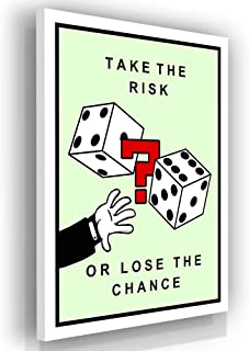 Monopoly Motivational Wall Art Canvas Print Office Decor Inspirational Quote Decoration Entrepreneur Motivation Sign Take The Risk Or Lose The Chance (18