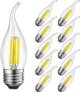 Bombilla Vela LED E27 4W Equivalente a 40W, 400Lm, Blanca Fría 6500K, Bombilla Filamento LED E27 para Candelabros, Lámparas Decorativas, Vidrio, No Regulable, 10 Unidades - SUPOO