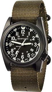 ساعة بيرتوتشي A-5S Ballista مضيئة للرجال شديدة التحمل من النايلون بلون زيتوني