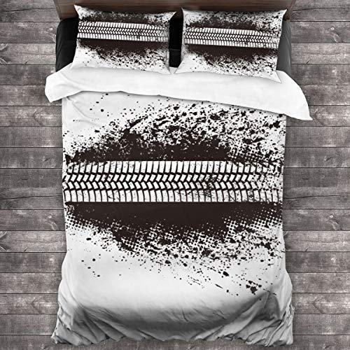 MAYUES Duvet cover bedding Set,Rally Tire Track Road Truck Motocross Race Dirt Wheel Bike,3 Piece Set bedding with 2 pillowcases,SuperKing(220 * 260cm)