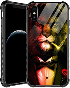 iPhone Xs Case,Lion Gentleman iPhone X Cases for Men Boys,Shockproof Anti-Scratch Soft TPU Pattern Design Case for Apple iPhone X/Xs 5.8-inch Lion Gentleman