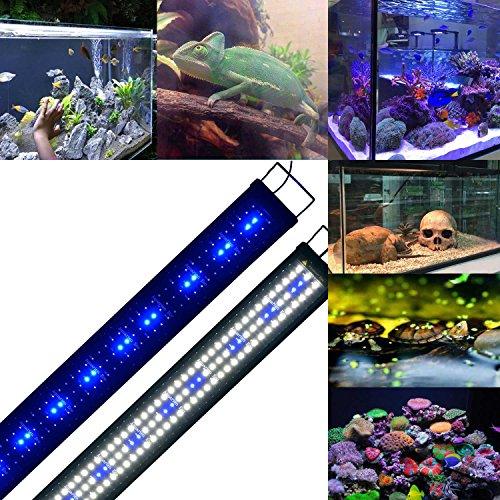 Aquarien Eco LED Aquarium Fische Tank Beleuchtung Aufsetzleuchte Blau Weiß Aquairum Abdeckung 125-140CM (120cm 33W)A060 - 4