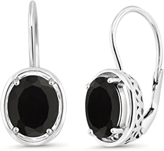 Gem Stone King Sterling Silver Black Onyx Dangle Earrings 4.00 cttw Gemstone Birthstone Oval Cut 9X7MM
