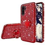 Misstars Glitzer Hülle für Huawei P30 Pro Rot, Bling Strass Diamant Weiche TPU Silikon Handyhülle Anti-Rutsch Kratzfest Schutzhülle mit 360 Grad Ring Ständer für Huawei P30 Pro