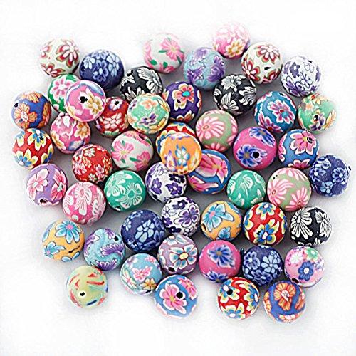 ROSENICE 50pz Bead Perle Perline Polimero Argilla Colorato Tondo 10mm (Colore Misto)