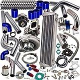 10PCS Universal T3/T4 T3 T4 T04E Turbo Turbocharger Kit 350HP Stage III + Wastegate + Intercooler + Piping + BOV + Oil Feed/Return Lines