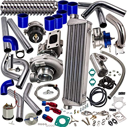 Universal T3/T4 T3 T4 T04E Turbo Turbocharger Kit 350HP Stage III + Wastegate + Intercooler + Piping + BOV + Oil Feed/Return Lines, US Stock