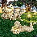 Garden Children Statues, Creative Solar Powered Lighted Firefly Boy Girl Jar Gow Firefly Art Garden Decor, Garden Sculptures & Statues Outdoor Ornaments Figurines for Outside Yard (Boy+Girl-B)
