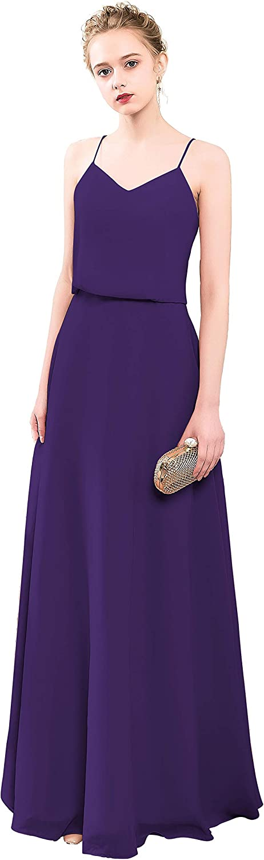 VaniaDress Women Spaghetti Strap Long Bridesmaid Dress Formal Gown V097LF