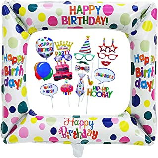 Inflatable Selfie Frame and Photo Booth Props Inflatable Frames balloons with 22 Pcs Photo Booth Props DIY Kit for Birthda...