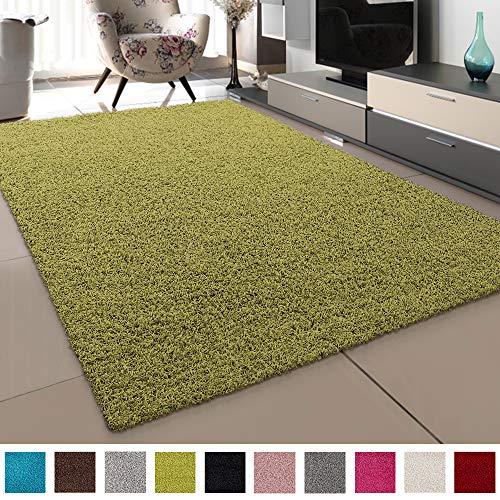 SANAT Teppich Wohnzimmer - Hellgrün Hochflor Langflor Teppiche Modern, Größe: 160x230 cm