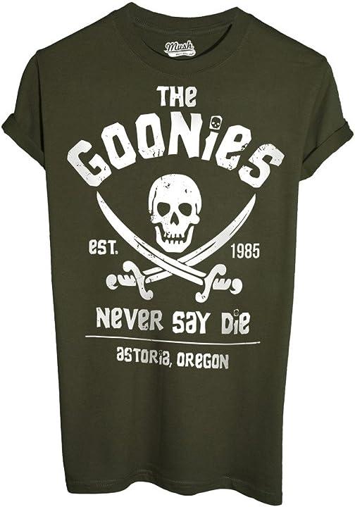 Maglietta goonies mush t-shirt uomo the goonies never say daie 80`s - film by dress your style mushT-IT-1928-K-BLA-01
