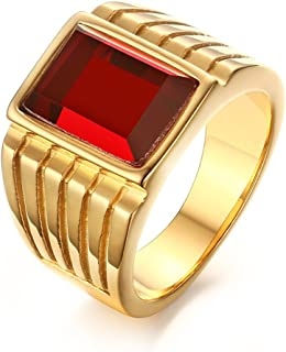 Stainless Steel Square Red Rhinestone Solitaire Ring for Men Wedding Band Engagement