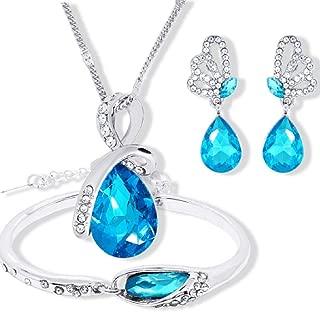 TOPOB Tears of Angels Diamond Crystal Elegant Women Jewellery Set of Crystal Pendant Necklace+Earrings+Bracelet