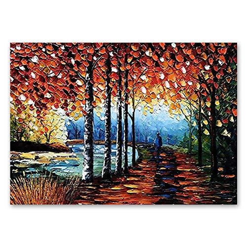 Cuadros Vintage Decoracion Paisaje de la noche de la calle del otoño Pintura al óleo Cuchillo de paleta pintado a mano Arte de pared con textura sobre lienzo Sin marco Pinturas de pared Obra de arte