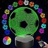 Luz de noche para niños Luz de ilusión óptica 3D de fútbol 16 colores de control remoto con Acrílico Plano & ABS Base & Cargador usb (Base negra)