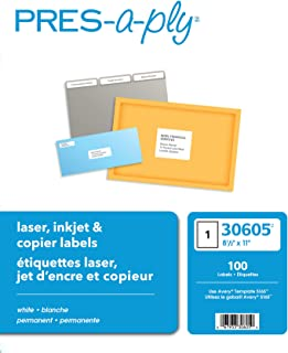 Pres-A-Ply Full Sheet Printable Labels, White, Box of 100 (30605) made In Canada for The Canadian Market