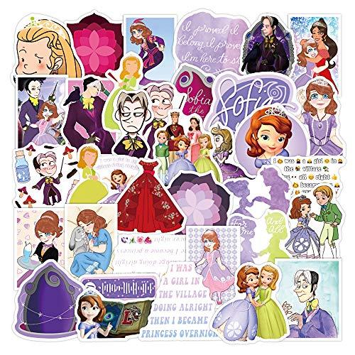 WYDML Dibujos Animados Lindo pequeña Princesa Sofía Anime Emoji Pegatina Ordenador teléfono móvil Maleta decoración Pegatina 50 Uds