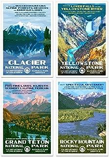 Rocky Mountain Region - National Park Posters - 4 Pack - Original Artwork - 13