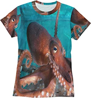 Bei Tang Red Octopus T Shirts for Women Top Tee Crew Neck Performance T-Shirt