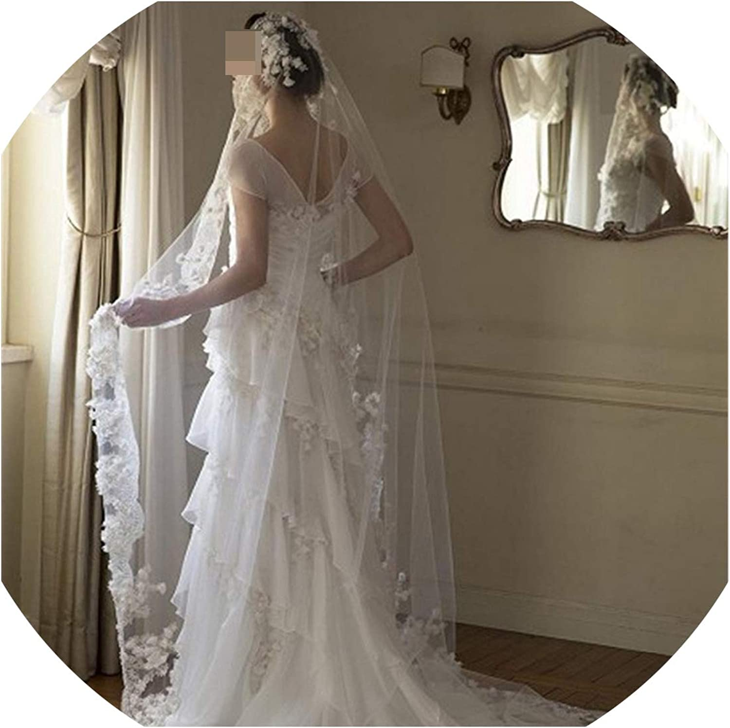 Cathedral Length Flowers Lace Edge Wedding Bridal Veil With Comb Wedding Accessories EE909,White,300cm