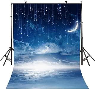 VVM 5x7ft Blue Starry Backdrop Moon and Stars Photography Backdrop White Cloud Fantasy Backdrop Children Birthday Photo Studio VV386