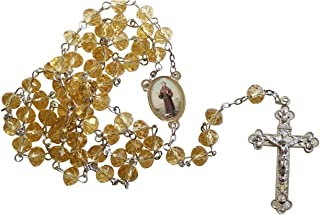 Saint Francis of Assisi San Francisco de Asis Yellow Scapolite Faceted Rondelle 8mm Beads Rosary with Tertium Millennium Crucifix and Silver Plated Centerpiece Includes a Blessed Prayer Card