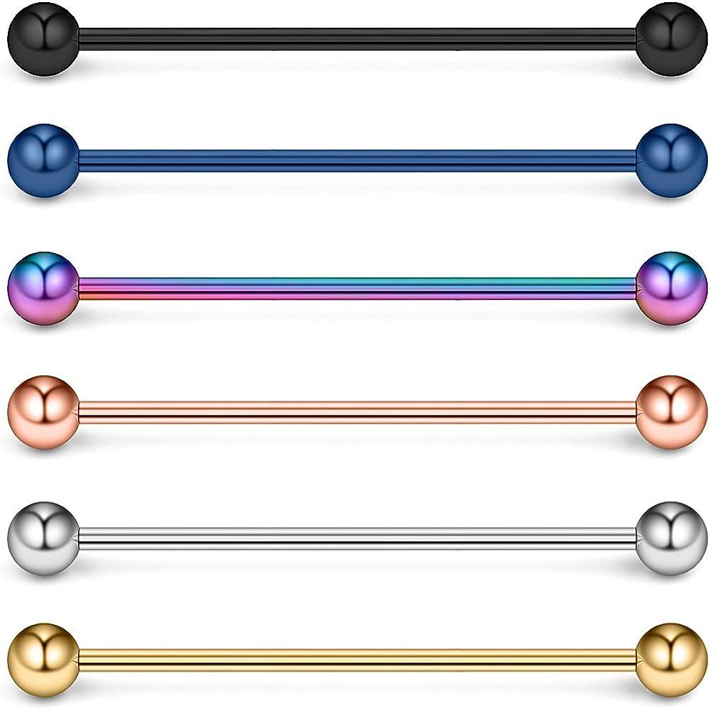 Ruifan 14 Gauge Industrial Barbell Cartilage Earring Body Piercing Jewelry 1 1/2 Inch(38mm)