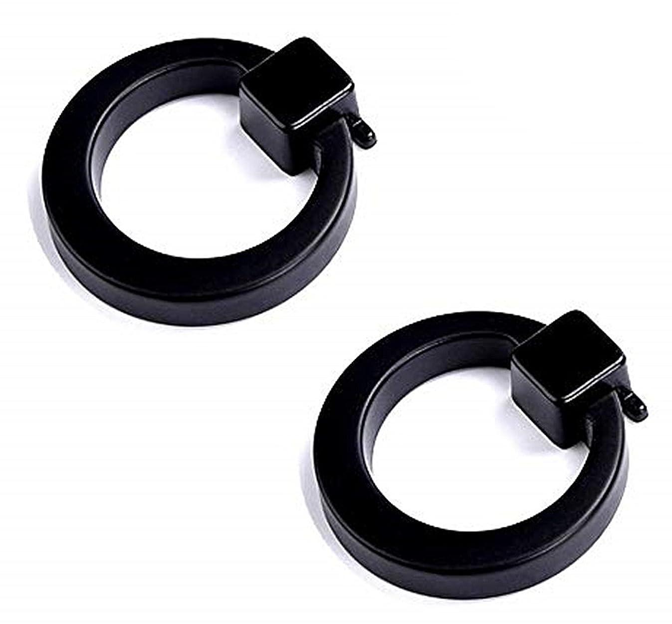 SamIdea 2-Count European Ring Door Pull Handles for Cabinet Drawer Dresser Cupboard Wardrobe,Black