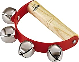 Nino Percussion Kids' Sleigh Bells for Christmas Caroling, School Band Performances, and Classroom Percussion Music Settings-Four Steel Jingles with Wooden Grip, 2-YEAR WARRANTY, (NINO962)