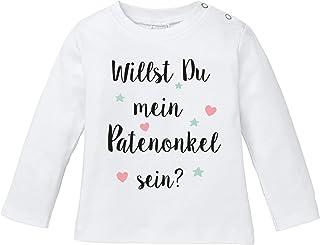 Ezyshirt Willst du Meine Patentante Sein | Strampler Patenschaft | Patenkind T-Shirt Baby Langarm Bio Baumwolle