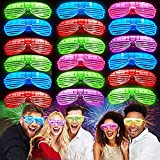 iGeeKid 30 Pack LED Glasses,Halloween Party Glasses Glow in The Dark Light Up Glasses Party Supplies Rave Neon Shutter Shades Glasses Sunglasses for Kids Adults Birthday Carnival Halloween Party