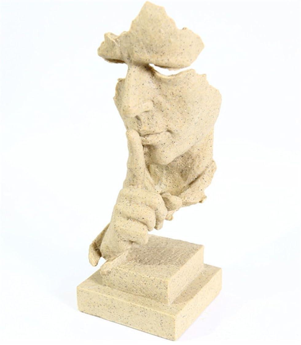 効果的運動するチート〔川善アート〕置物 オシャレ お静かに 北欧 彫刻風  高さ34CM 沈黙は金