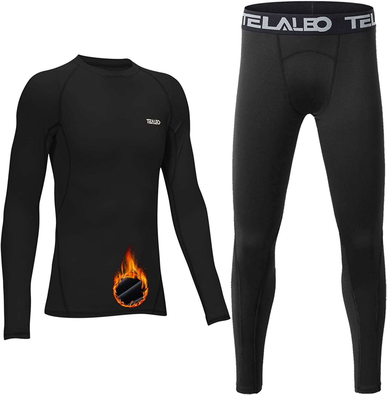 TELALEO Youth Boys' Girls' Thermal Compression Shirt Long Sleeve Fleece Lined Base Layer Athletic Football Undershirt