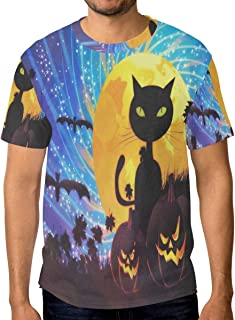 Lovexue Halloween Party with Cat TShirtsforMenTopTeeCrewNeck Athletic T-Shirt